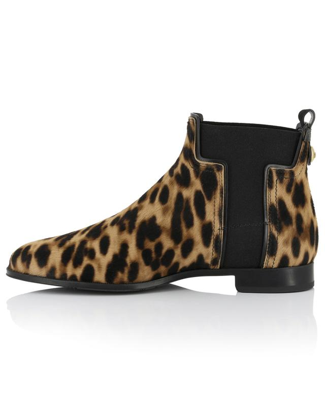 Flat leopard print ankle boots with T panel TOD'S