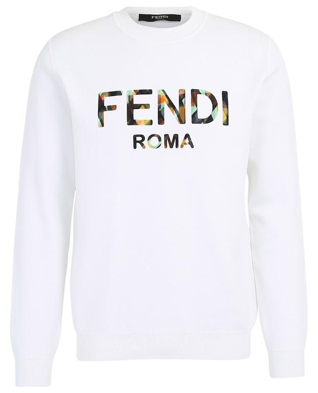 Logo appliqué felted cotton sweatshirt FENDI