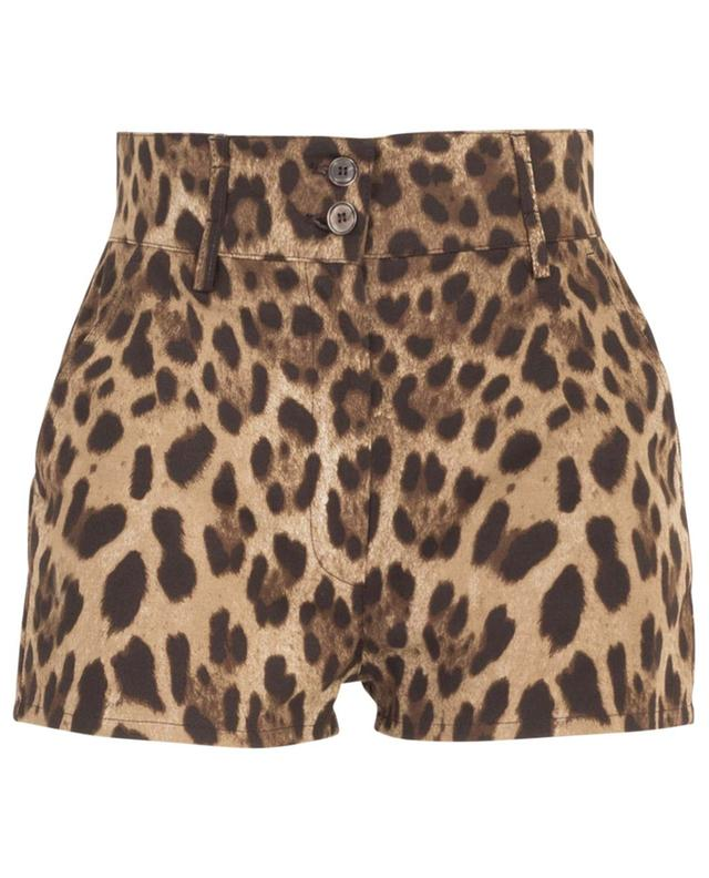 Leopard print cotton stretch mini shorts DOLCE & GABBANA