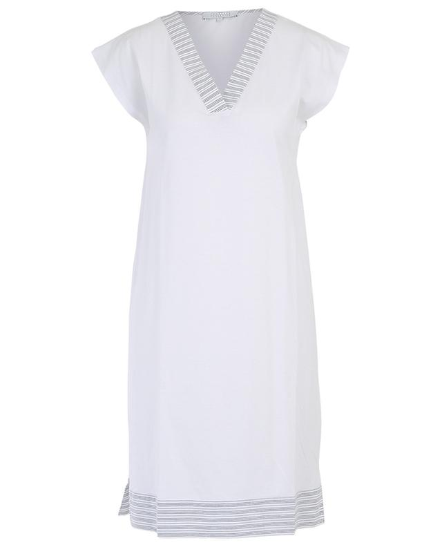 Luna striped jersey V-neck nightshirt LAURENCE TAVERNIER