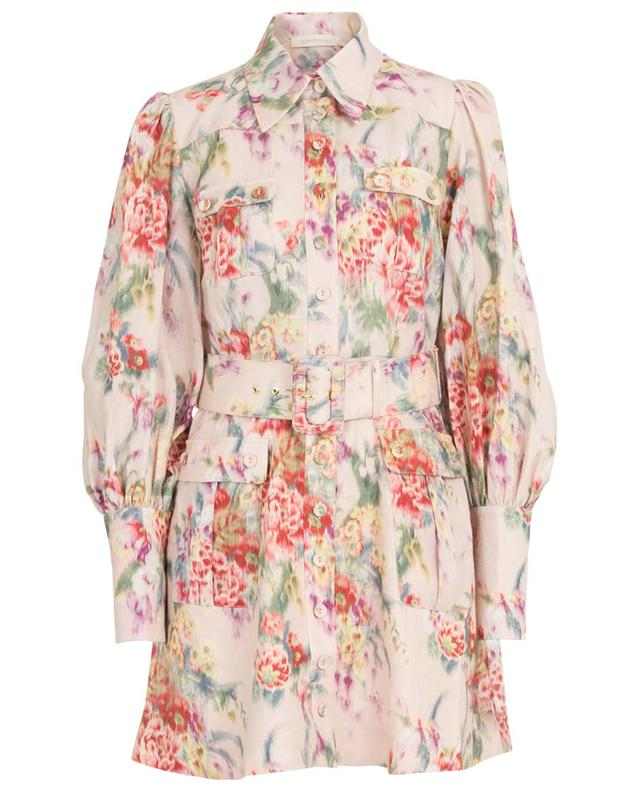 Wavelength Billow Sleeve floral linen shirt dress ZIMMERMANN