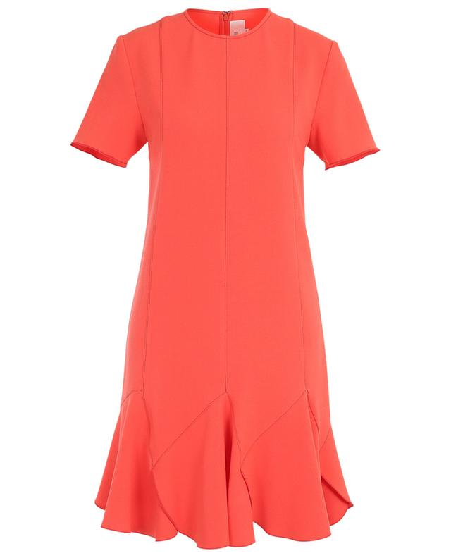 Ruffled short-sleeved short crepe dress VICTORIA BY VICTORIA BECKHAM