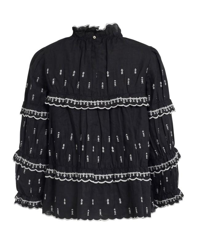 Embroidered linen long-sleeved top ISABEL MARANT