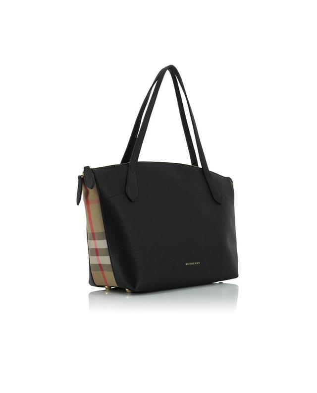 burberry leather and house check tote bag black a30483 bongenie grieder. Black Bedroom Furniture Sets. Home Design Ideas