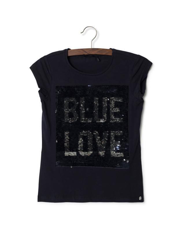 ikks junior cotton t shirt with reversible sequins navyblue bongenie grieder. Black Bedroom Furniture Sets. Home Design Ideas