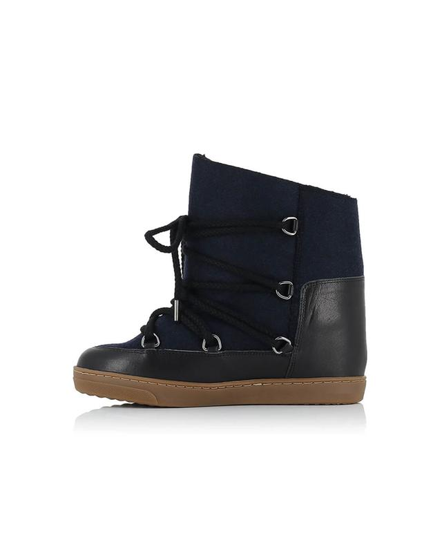 Isabel marant nowles leather and wool wedge sneakers navyblue