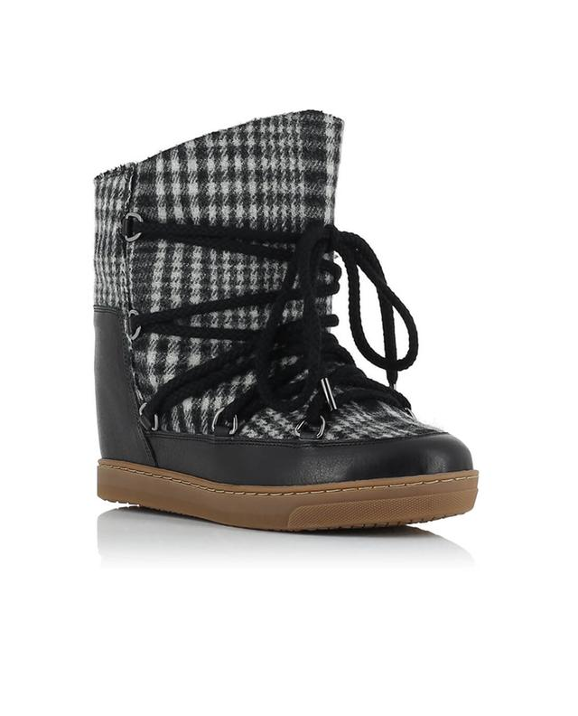 Isabel marant nowles leather and wool wedge sneakers grey
