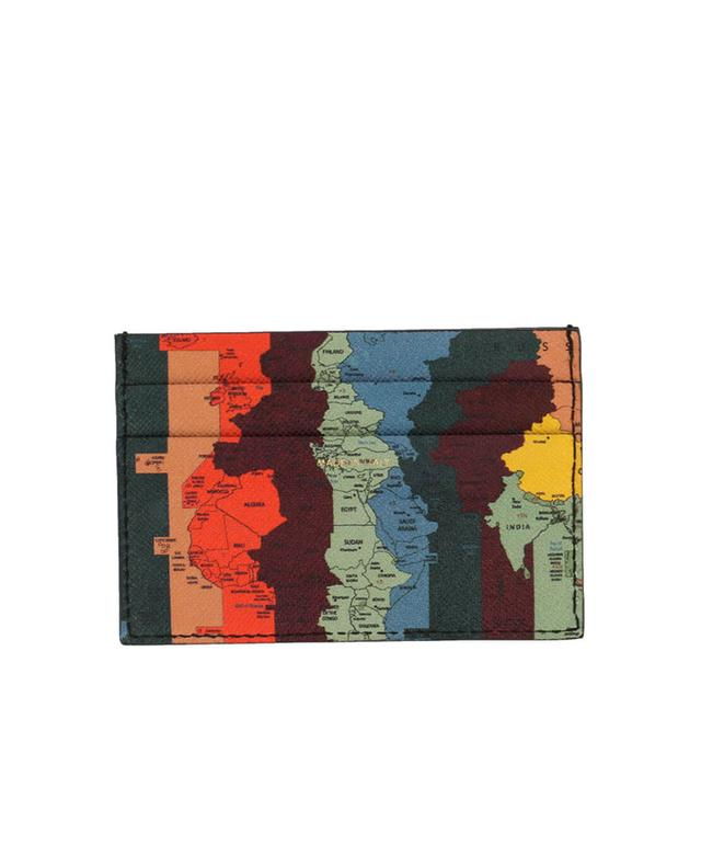 Artist Stripe Map leather card-holder PAUL SMITH