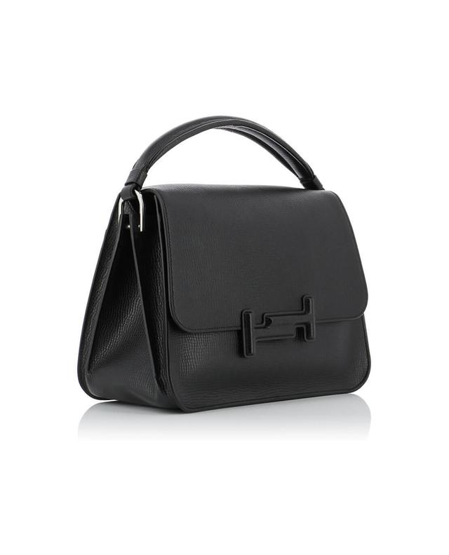 Tod's double t grained leather handbag black a40595