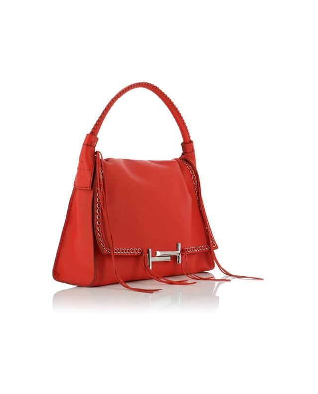 Tod's double t grained leather handbag red a40596