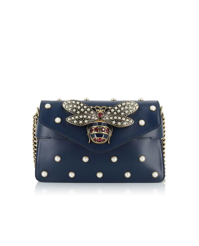 Gucci broadway leather bag navyblue a41290