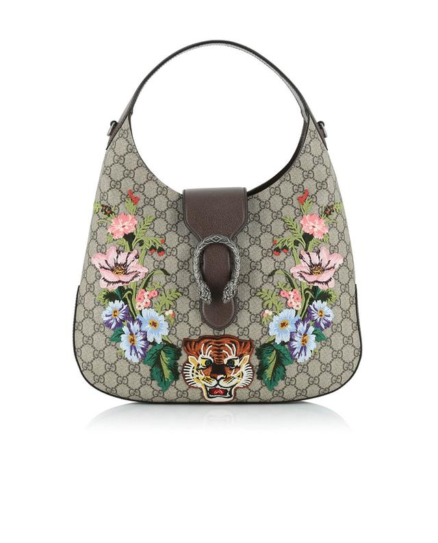 Gucci dionysus embroidered hobo bag beige a41296