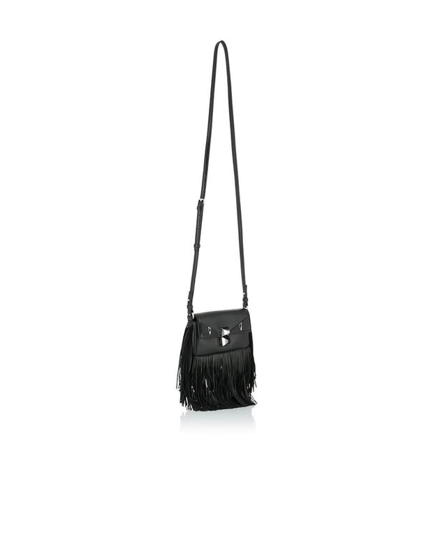 Fendi micro baguette leather handbag black a41423