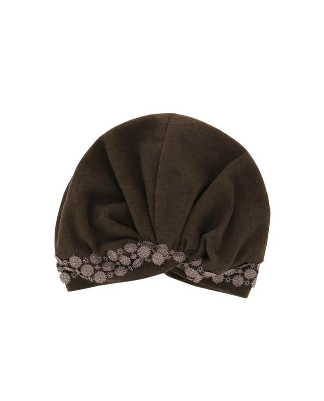 Charles muller embroidered cotton and cashmere beanie brown