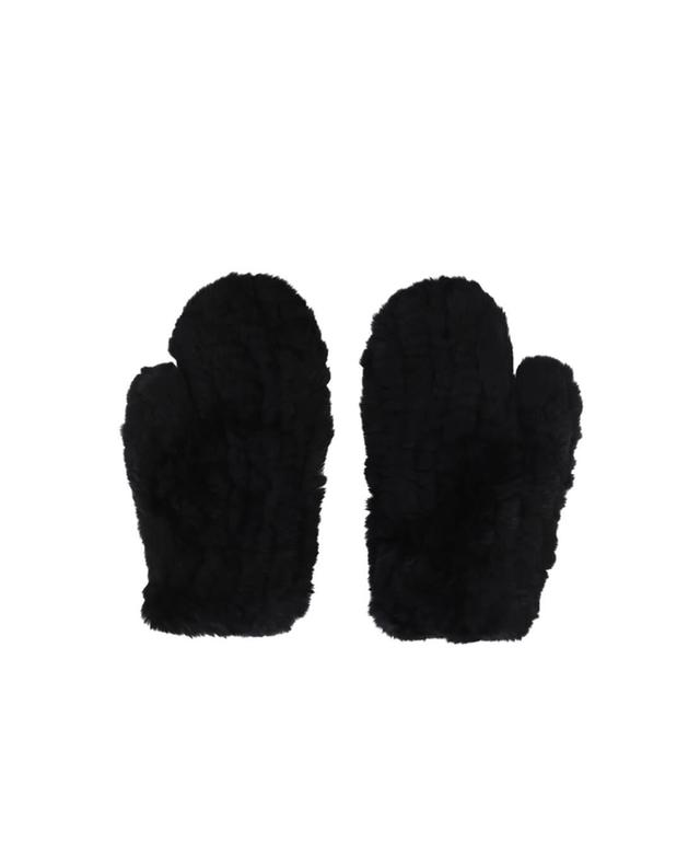Yves salomon real fur mittens black a42086