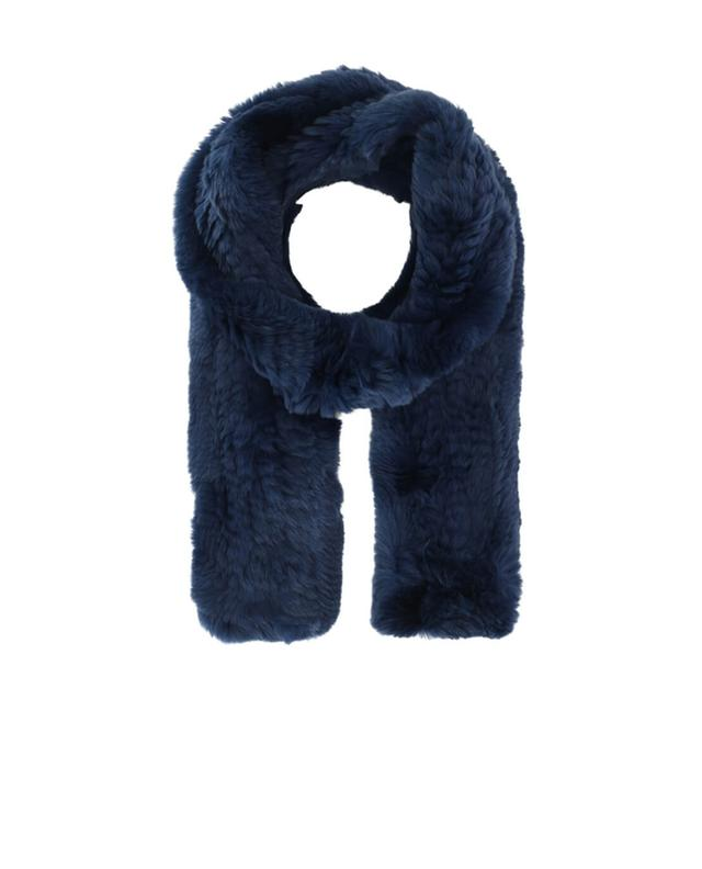 Yves salomon real fur scarf navyblue a42091