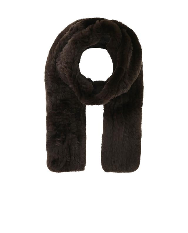 Yves salomon real fur scarf brown a42091