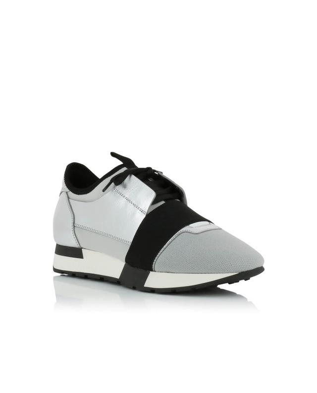 Balenciaga race runner leather, neoprene and mesh sneakers silver