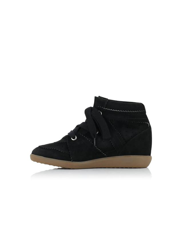 Isabel marant bobby suede wedge sneakers black a54068