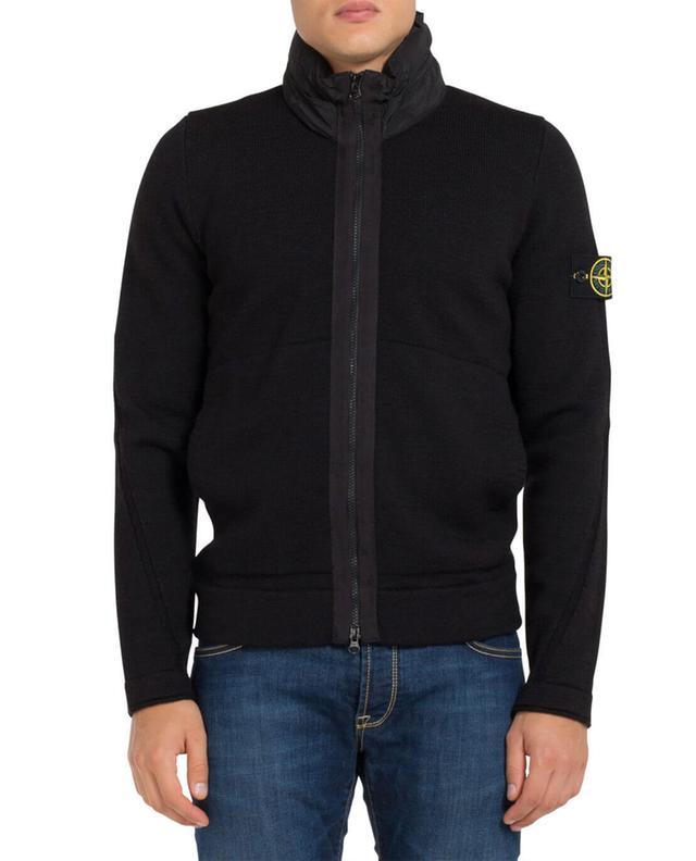 Stone island cardigan zippé en laine noir a71954