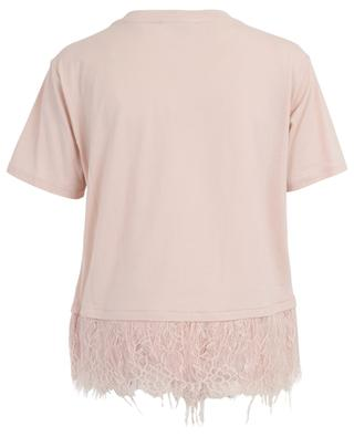 Feather and floral lace embellished T-shirt TWINSET