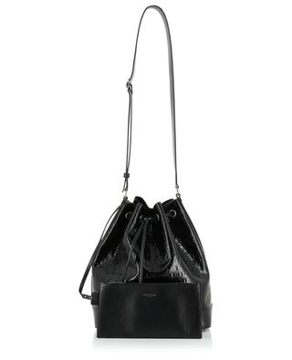 Sac seau en cuir verni Monogram All Over Bucket SAINT LAURENT PARIS