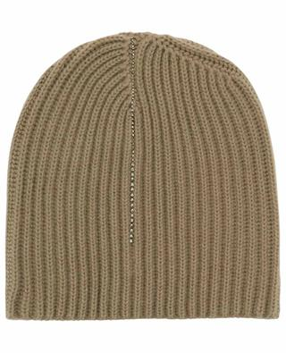 Almastrit rib knit cashmere beanie with crystals WARM ME