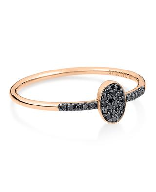Sequin Black Diamond Ring pink gold ring GINETTE NY