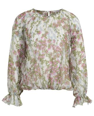 Paraggi cherry blossom print long-sleeved silk blouse IBLUES