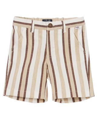 Striped linen and cotton stretch Bermuda shorts IL GUFO