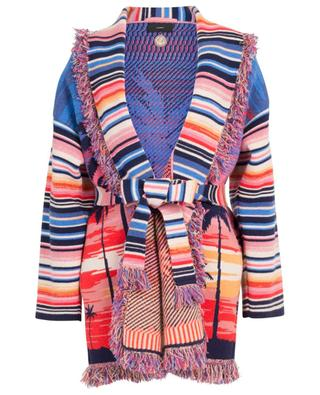 Malibu Sunset cashmere blend thick cardigan with fringes ALANUI