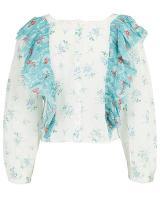 Jason ruffled floral print cotton top LOVESHACKFANCY