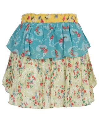 Floral print ruffled cotton mini skirt LOVESHACKFANCY