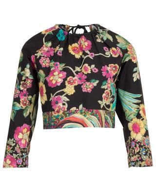 Bird Of Paradise In The Forest floral print cotton cropped top RED VALENTINO