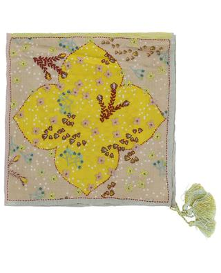 Emi printed and embroidered silk pocket square with tassels STORIATIPIC