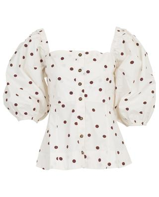 Fitted polka dot top with square neck and puff sleeves GANNI