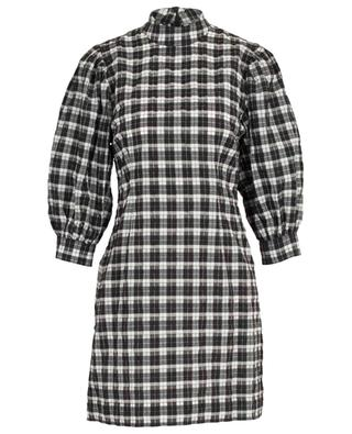 Short cotton blend dress with checkered print GANNI