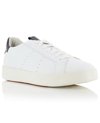 White leather lace-up low-top sneakers with blue detail SANTONI