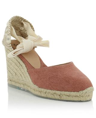 Carina sustainable leather and canvas wedge espadrilles CASTANER