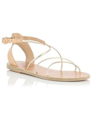 Meloivia flat beige and golden leather sandals ANCIENT GREEK SANDALS