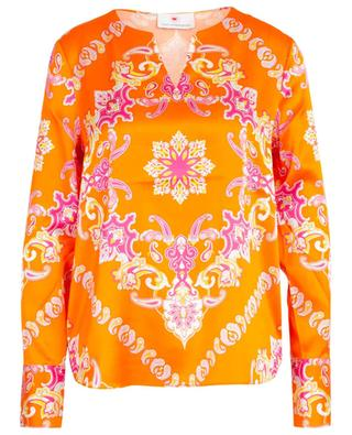 V-neck silk blend blouse with Paisley print HERZEN'S ANGELEHEIT
