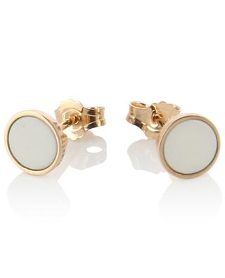 Ever Boevea agate adorned pink gold ear studs GINETTE NY