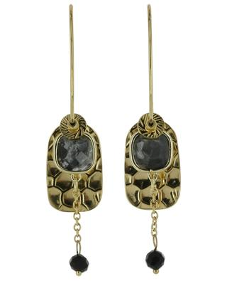 Golden hoop earrings with pendants and stones IKITA