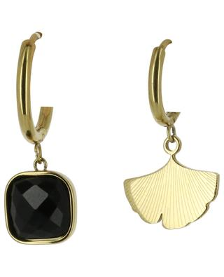 Golden hoop earrings with stone and gingko leaf IKITA