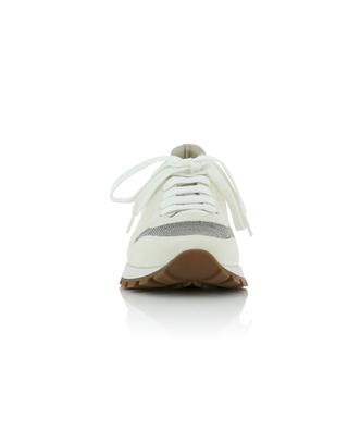 Monile bead adorned leather and suede sneakers BRUNELLO CUCINELLI