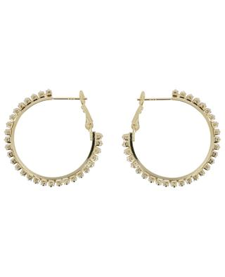 Golden hoop earrings with white crystals 3 cm MOON C° PARIS