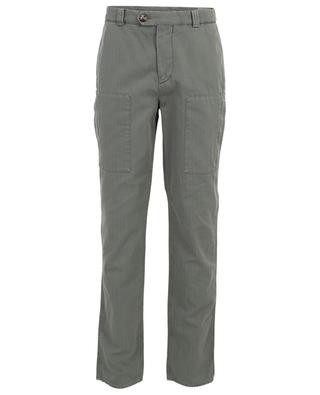 Cotton and linen herringbone cargo trousers BRUNELLO CUCINELLI